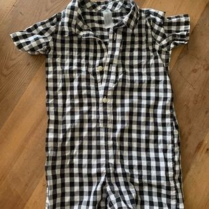 Primary Polo Romper Gingham Black / Ivory 18-24 M